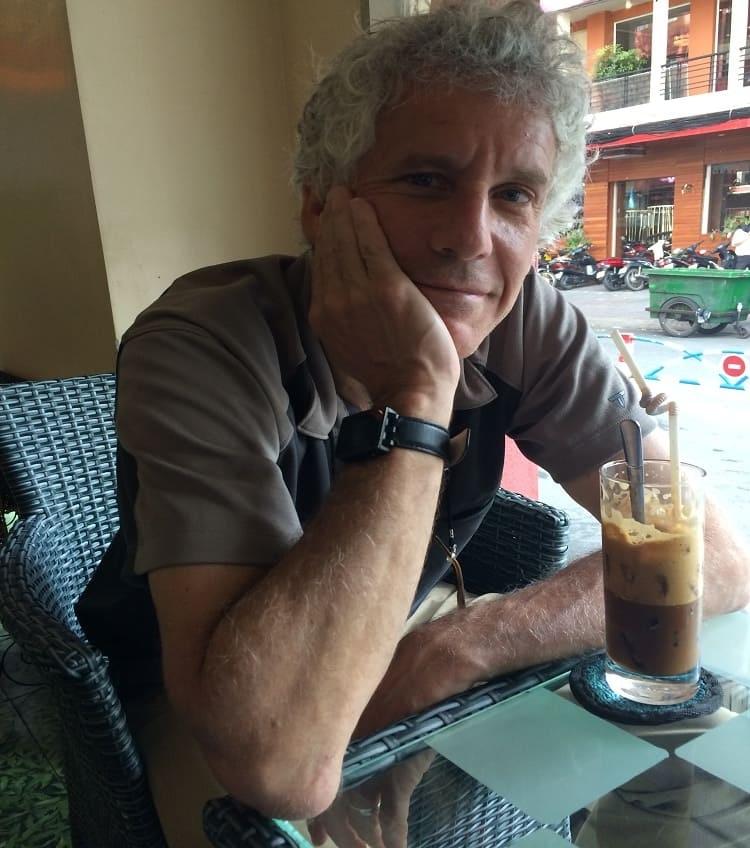 Enjoying Vietnamese coffee with Jeff