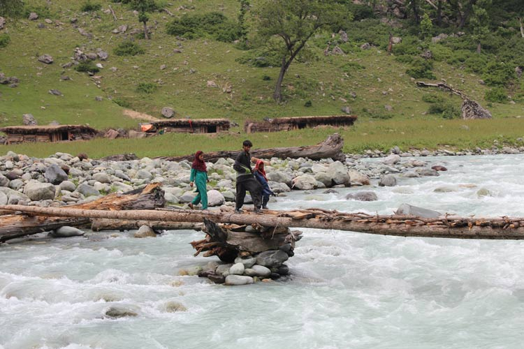 A nomad family crosses Lidder stream in Lidderwath area. Lidderwath is a bowl-shaped valley, which has become a common address for amateur trekkers of the valley who intend to take up mild hiking experience.