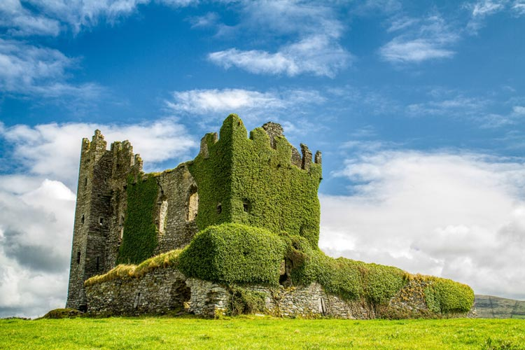 Castle ruins in Kerry countryside overgrown with ivy.