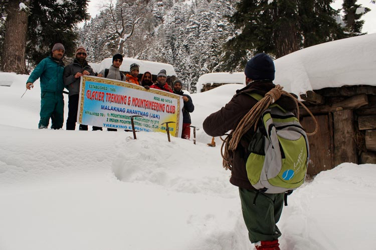 Hikers pose for a photograph in Wardbal area. Winter trekking has also picked up in the valley to keep up with the rhythm during harsh winters for upcoming summer hiking season.