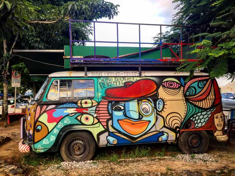 A hippie bus in Paraty. They love VW buses, and they are often painted.