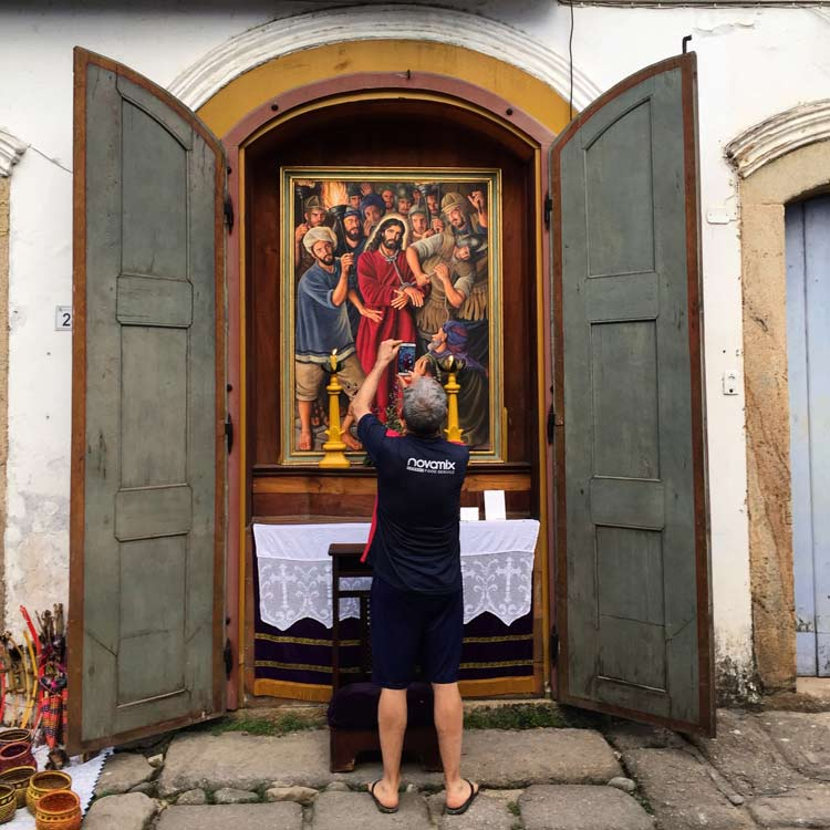 Paraty has a stations of the cross built into doorways that are only open on religious days. The rest of the time, these look just like closed doors.