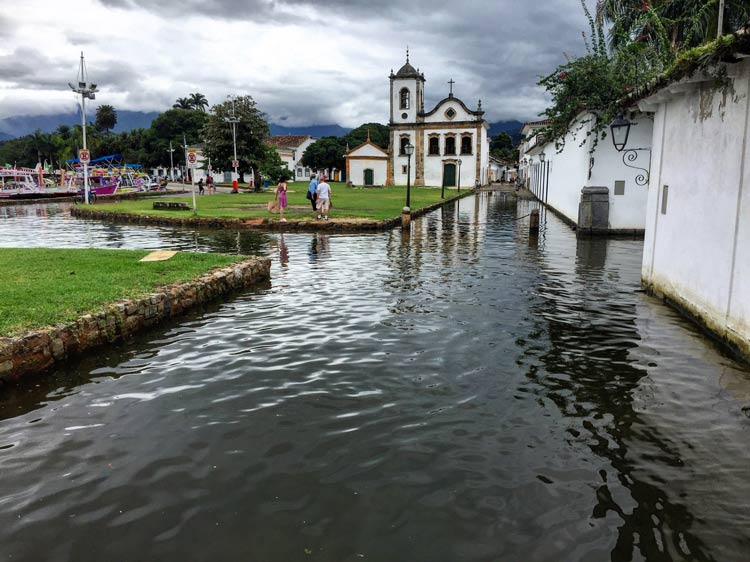 At certain times of the year, the tide comes in and makes Paraty a mini Venice with the streets covered with water.
