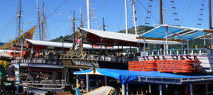 Just some of the schooners in harbor of Paraty.