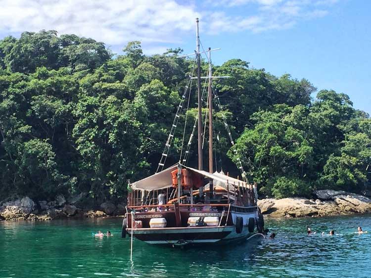 Boat anchored right off of Ilha Grande.