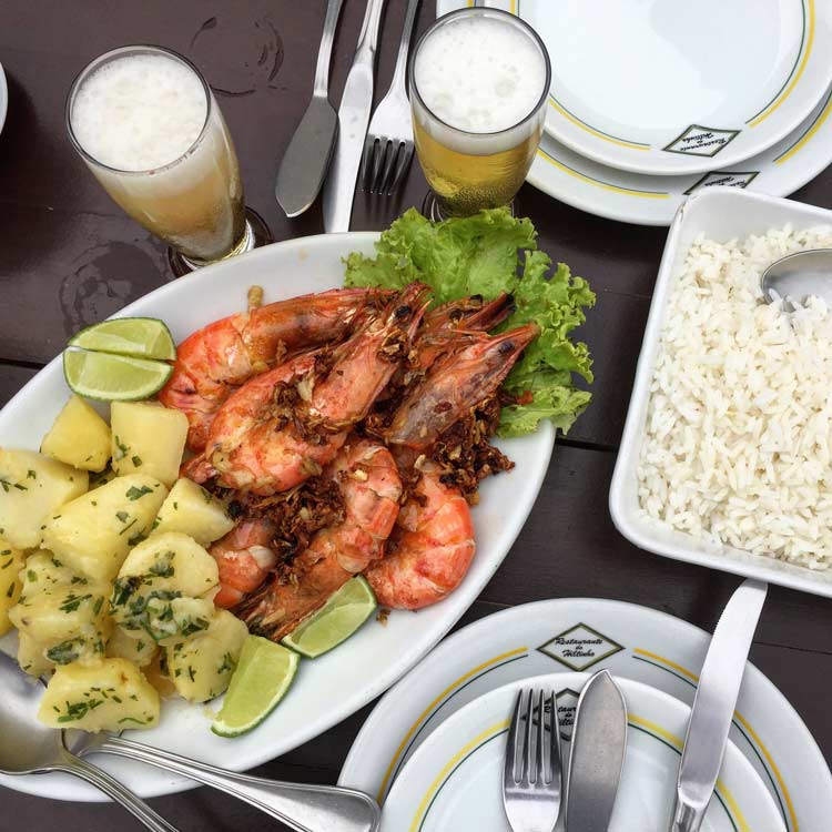 Shrimp, potatoes and rice is a staple along the coast of Brazil.