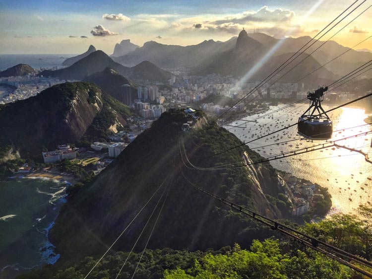 Aerial tram to the top of Sugarloaf mountain in Rio De Janeiro, Brazil.