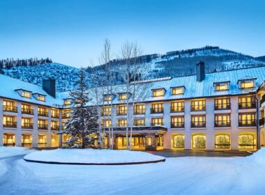 The snowy Grand Hyatt in Vail.