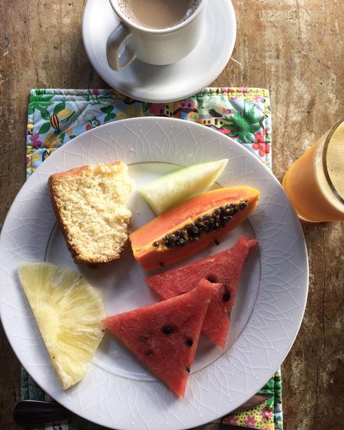 Breakfast spread in Ilha Grande.
