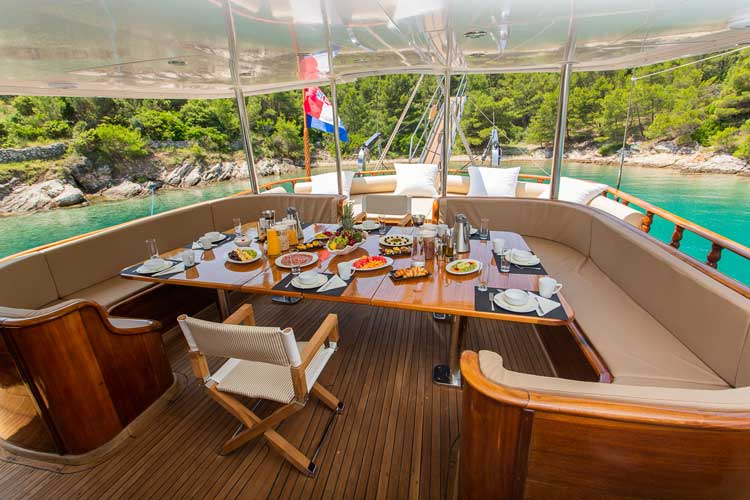 Dining aboard a gulet