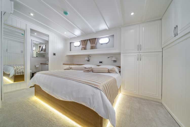 A luxury guest cabin on a gulet private cruise holiday.