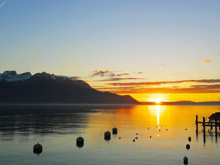 The mesmerizing sunset at Lake Geneva.
