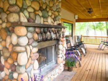 Wrap-around porch at the fishing lodge at Rio Grande Club and Resort