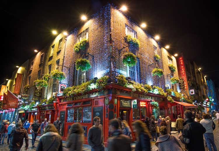 The Temple Bar is one of the most popular pubs in Dublin, Ireland.