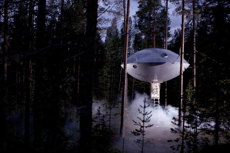 The UFO themed room at the Treetop hotel.
