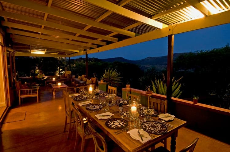 Dinner for all the guests on the Three Tree Hill veranda.