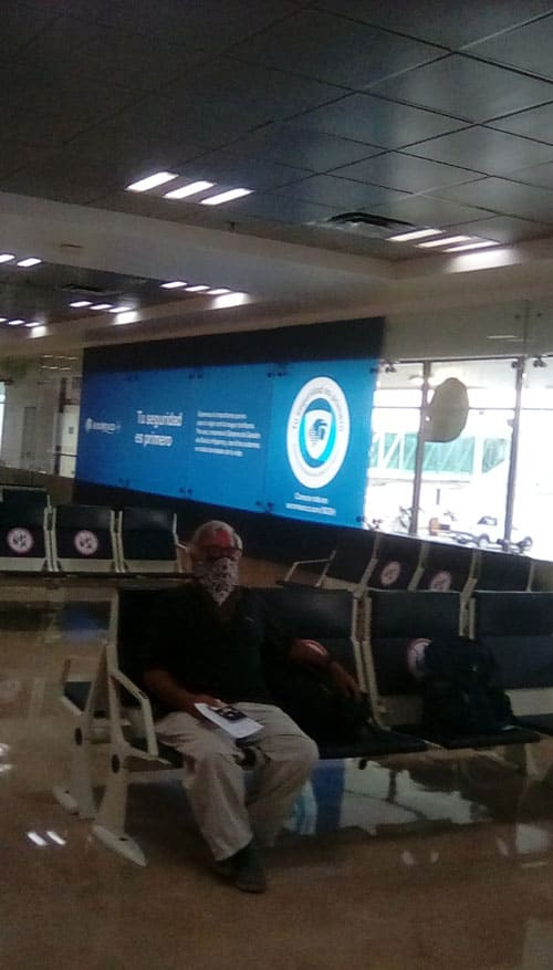 Waiting in the desolate airport during Covid-19 restricted travel.