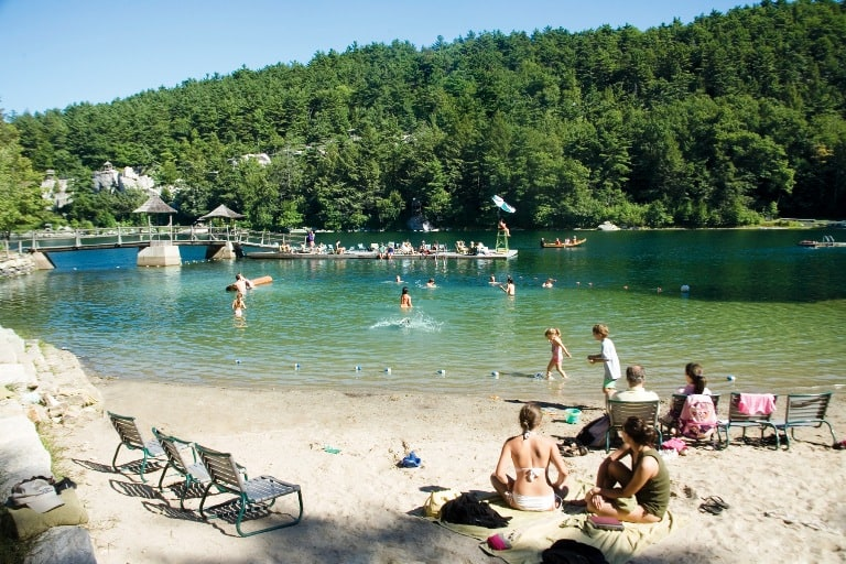 The beach at Mohonk Mountain House in New Paltz, NY is one of many outdoor activities. Photo courtesy of Mohonk