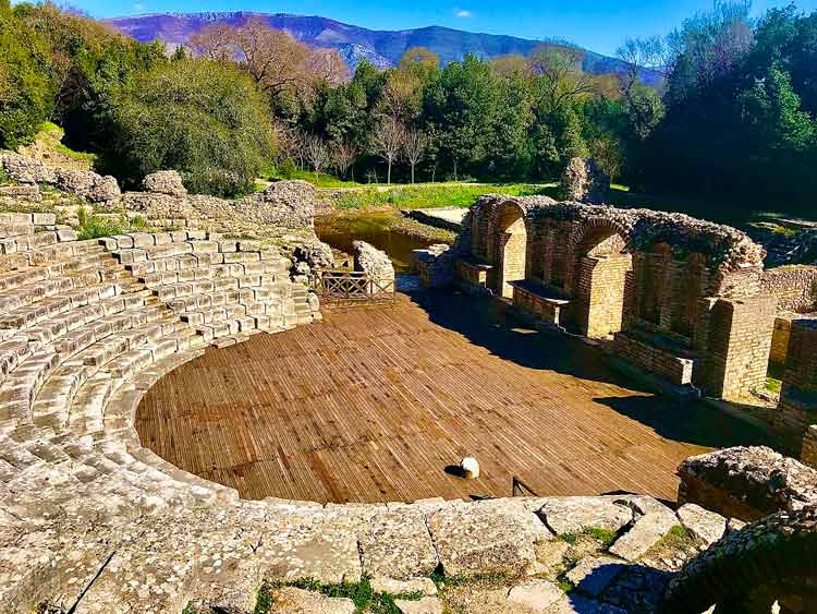 Stone amphitheater ruins at the Butrint National Park in Albania.