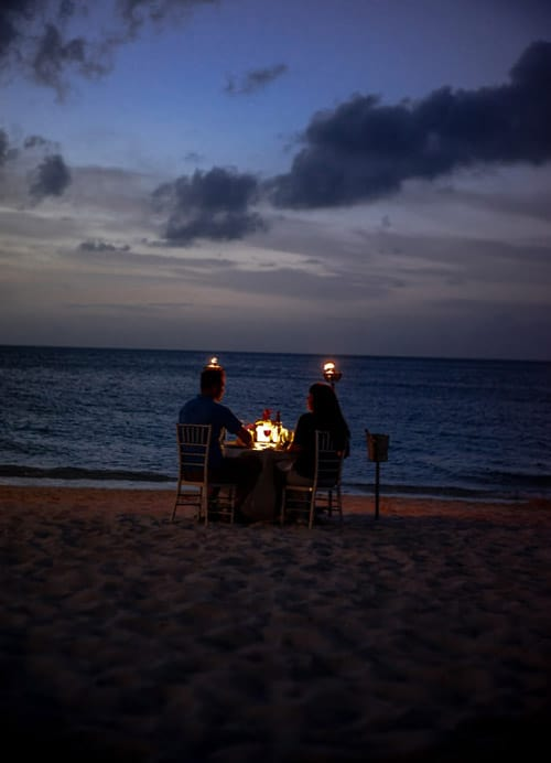 The perfect exclusive beach spot for a date night.