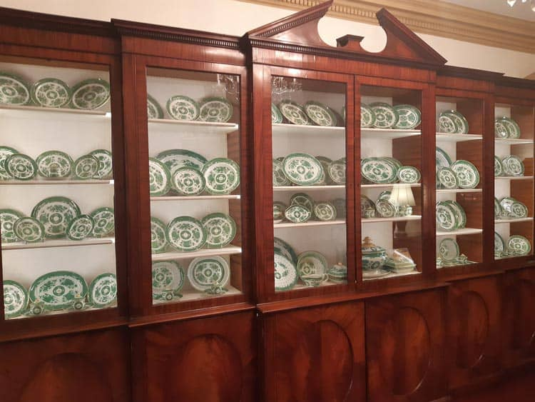 The cabinet of fine china preserved by the Department of State from Diplomatic reception rooms.