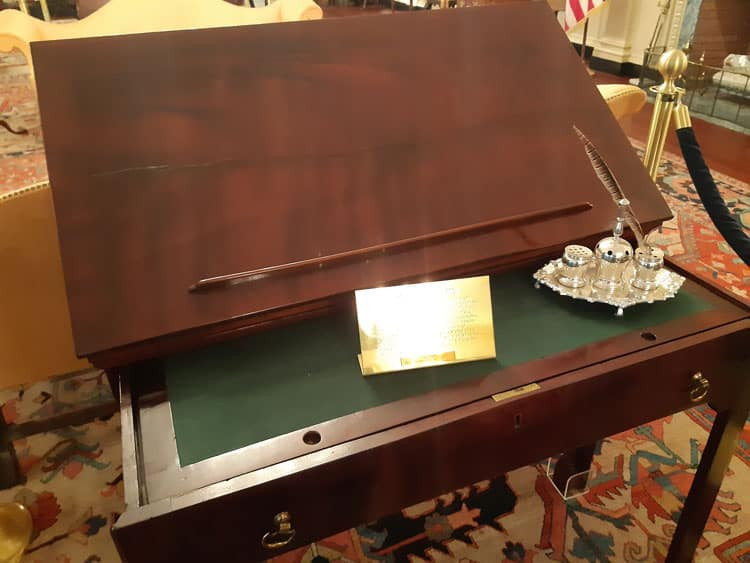 Thomas Jeffersons desk preserved in the U.S. Capitol building in Washington, D.C.