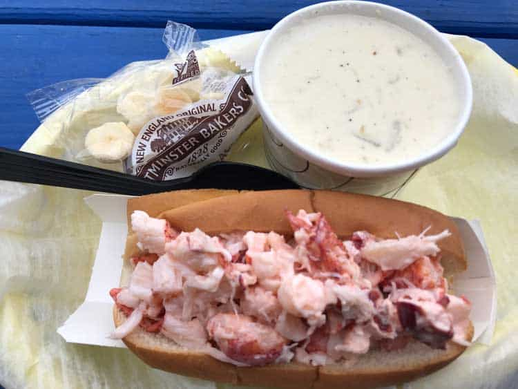 Lobster roll and clam chowder in Massachusetts. Photo by Meryl Pearlstein