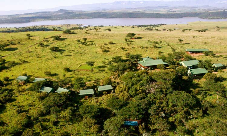 The aerial view of all of the Three Tree Hill Lodge land.