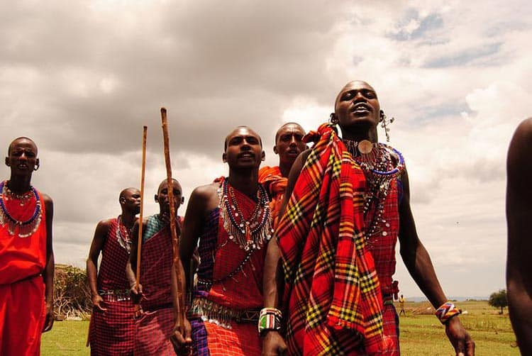 Maasai men in their traditional attire.