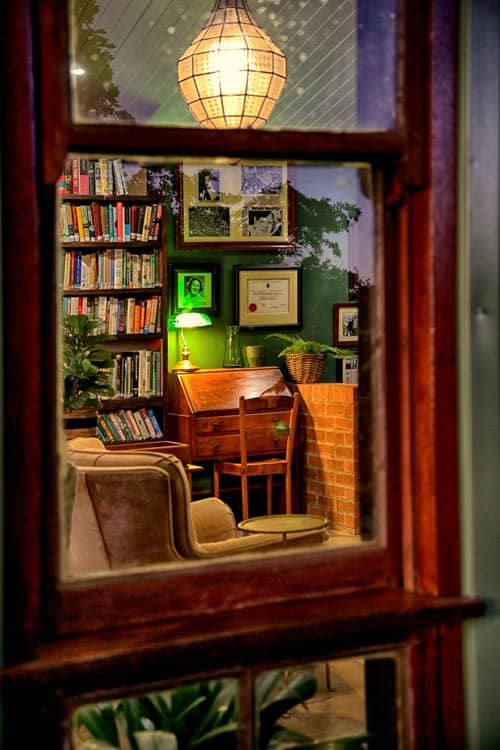 Peek through the window into the cozy Molly Blackburn Library.