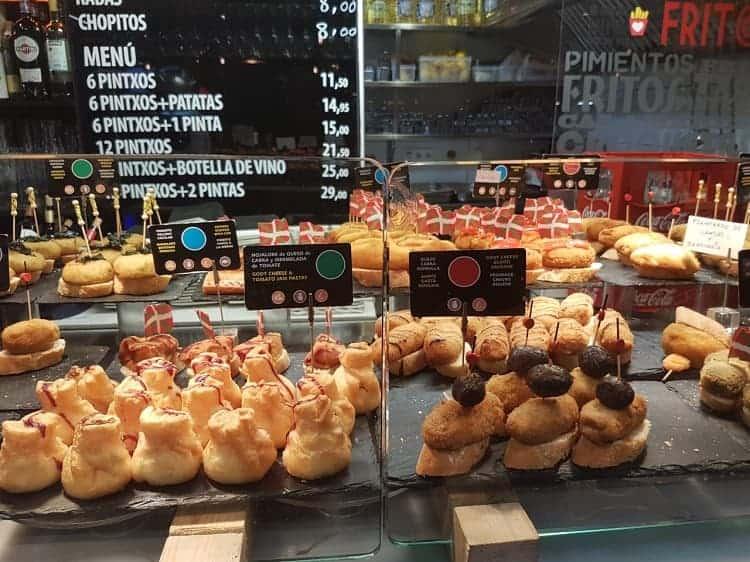 Pintxos in the Mercado de Ribera Bilbao