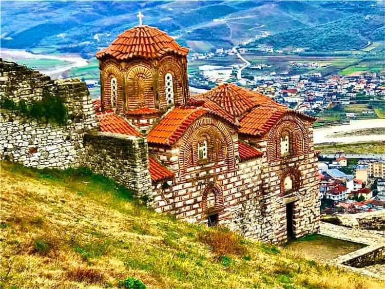 Saint Triadha Church sits on the high hill in Berat, Albania.