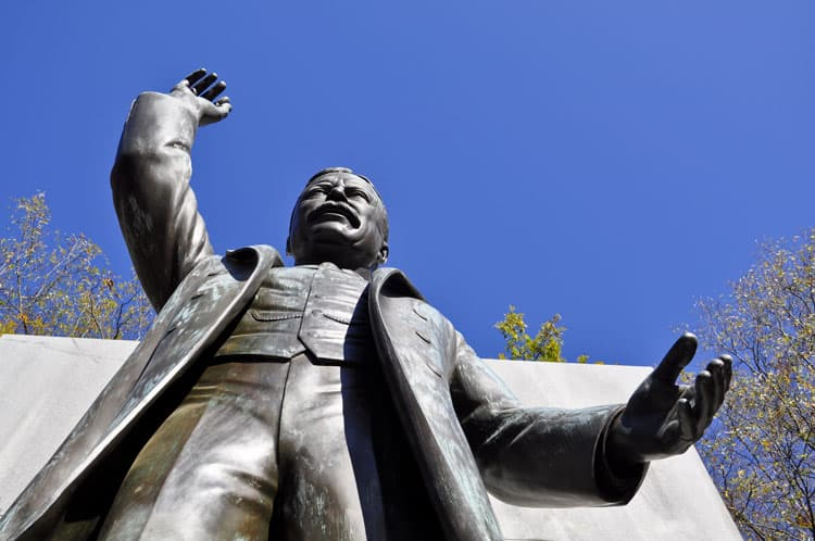 Looking up at the statue of Theodore Roosevelt in Washington, D.C.