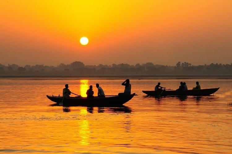 The beautiful view of sunset at Varanasi, India