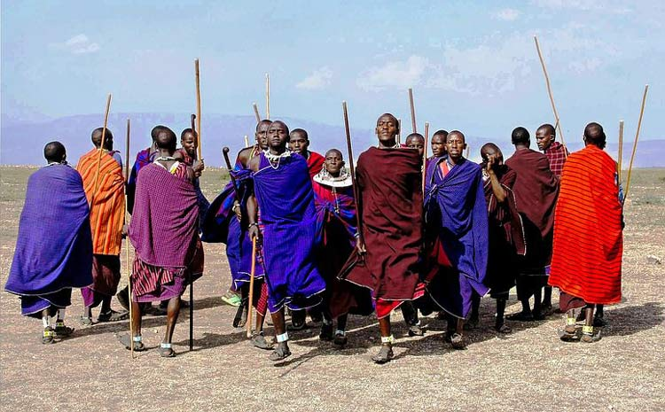 The different bright colors the Maasai Shuka come in.