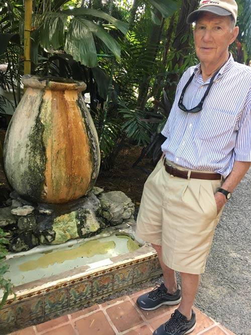 Tiled urinal repurposed by Hemingway. He brought the water jug that feeds into it from Cuba.