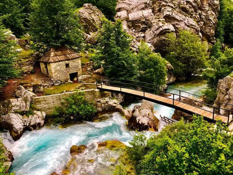 Crossing the bridge over the Valbona River.