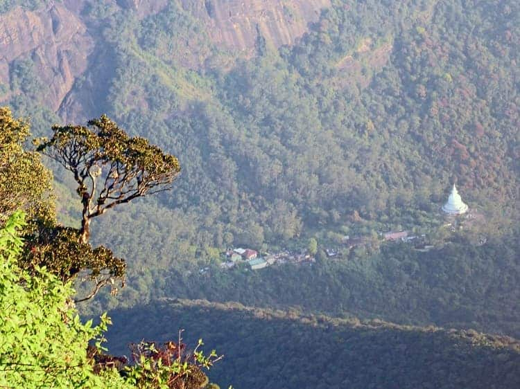 View descending Adam's Peak of Dalhousie village below.