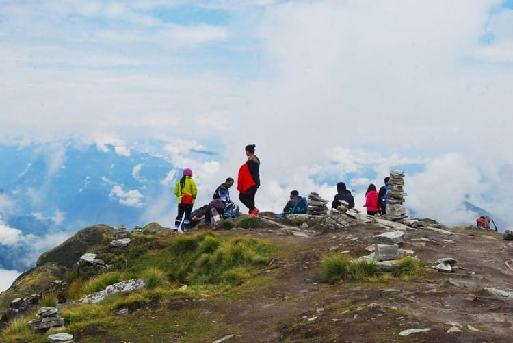 Hikers on the Chopta Chanddrahila trek in the Himalayas