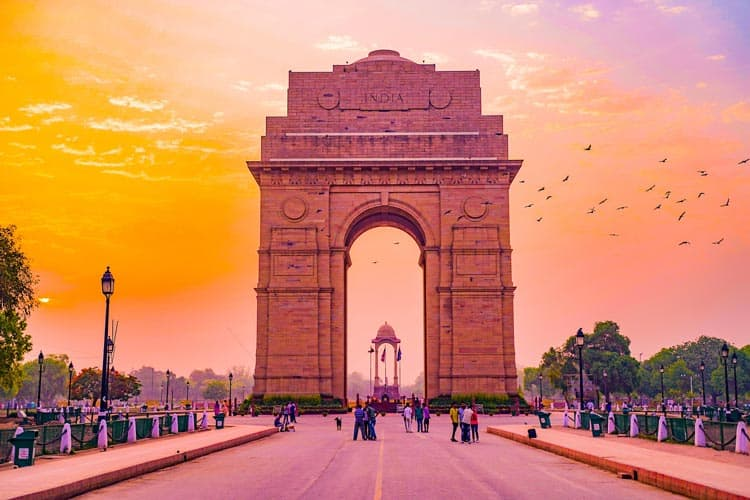 The colorful majesty of the sunset in Delhi, India.