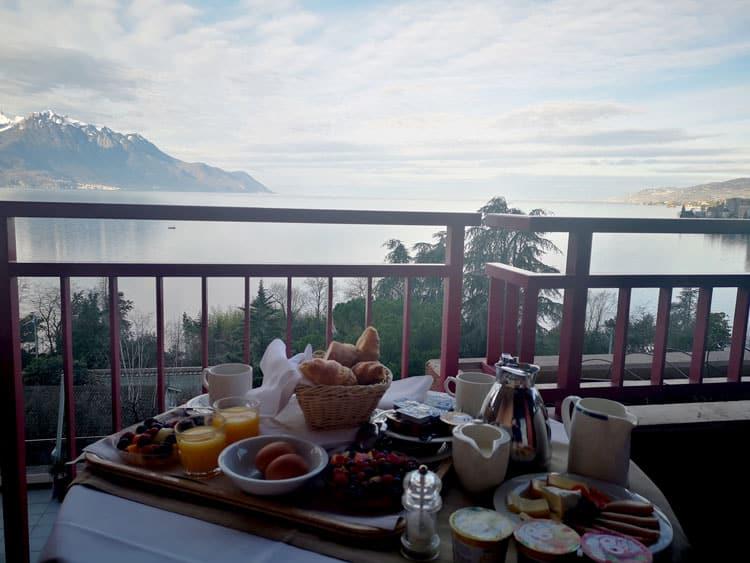 The unbelievable Swiss breakfast spread on the deck.