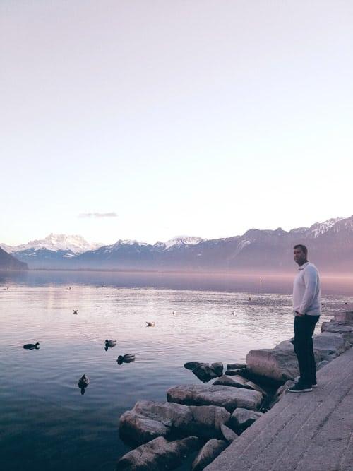 Morning walk around Lake Geneva.