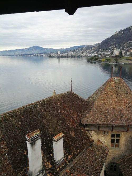 Looking over the town of Montreux from the top floor of the Switzerland castle.