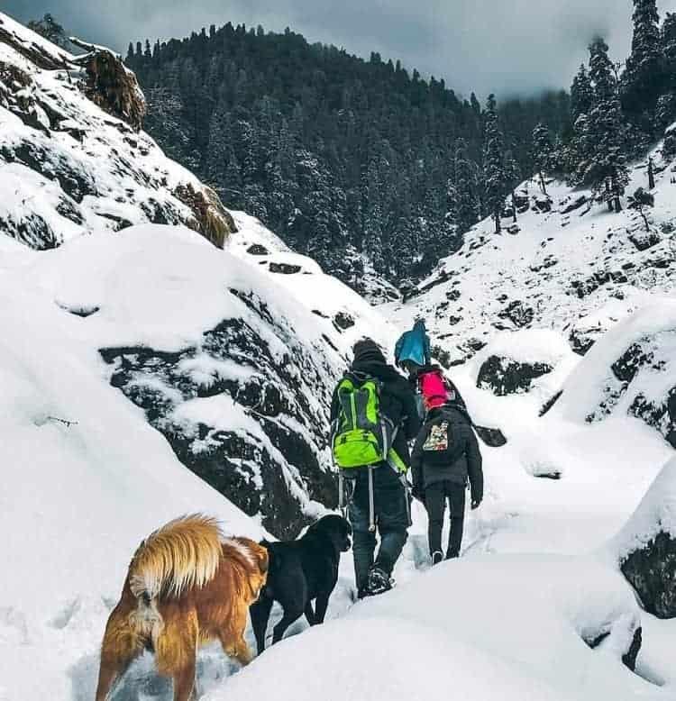 Prashar Lake snow on a trek in Himachal Pradesh