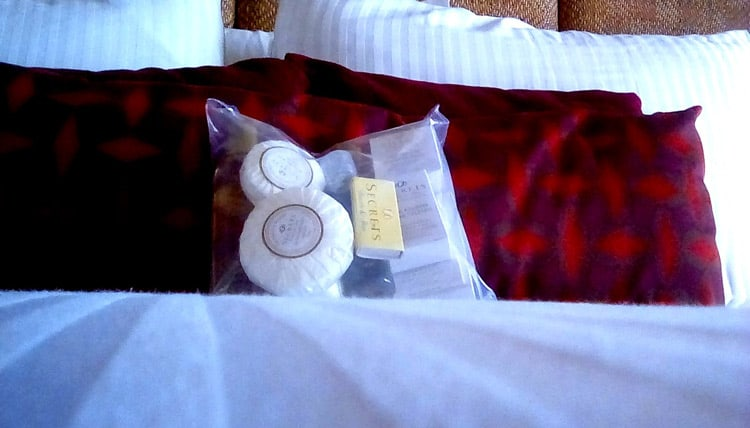 As part of the sanitation protocols, all personal care room products were sealed in heavy plastic.