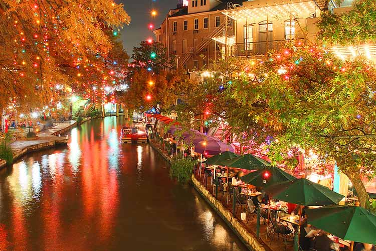 The riverwalk in San Antonio lit up for the holidays.