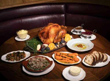 The delicious Thanksgiving spread at Le Crocodile in NYC.