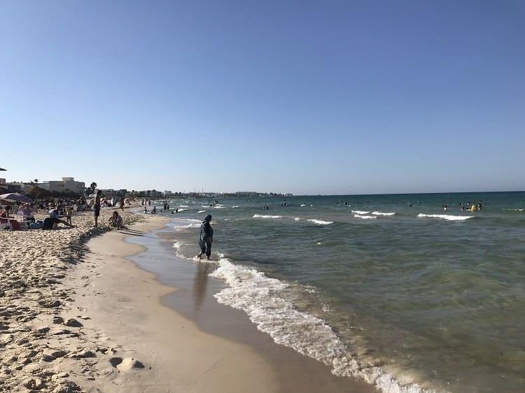 People enjoy the Mediterranean Sea.