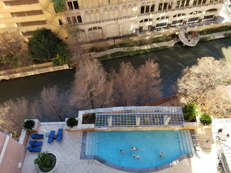 View of the river side pool in San Antonio.
