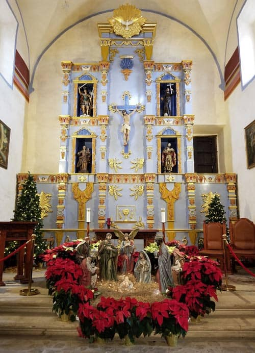Mission San Jose church decorated for the holidays.